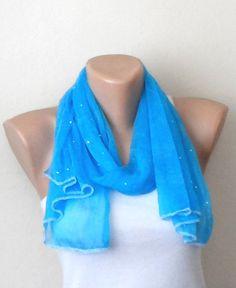 blue scarf scaly tulle fabric scarf shawls wrap blue women