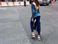 Denim jacket in street style