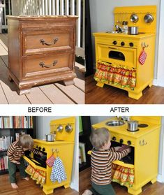 : A Display Shelf Erica at Spoonful of Imagination found this old dresser in the junk tossed away by her neighbor's and after giving it a pretty makeover she turned the dresser into a display shelf. A Play Kitchen Cyrille at Bubblestitch Quilts upcycled a Small Dresser, Old Dressers, Projects For Kids, Diy For Kids, Diy Projects, Diy Play Kitchen, Play Kitchens, Kid Kitchen, Kitchen Oven