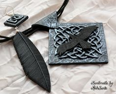 Raven jewelry set Raven pendant Raven by HandmadeByAleksanta