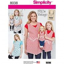 Misses, Child and 18 Inch Doll Vintage Aprons Simplicity Sewing Pattern 8038. Size S-L