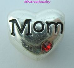 Sterling Silver 925 Red CZ MOM Heart European Bead Charm #Unbranded #European