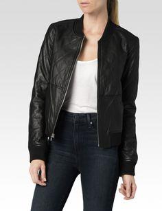 Zoey Bomber Jacket - Black - PAIGE