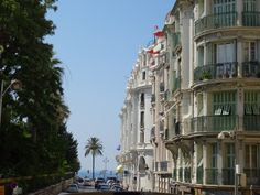 Streetscape view to the beach which is the main focal point for Nice in France