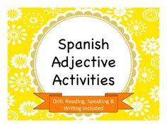 This lesson has everything you need to get your students to understand and practice the concept of adjective agreement in Spanish. Students will practice matching various types of adjectives to both singular, plural, masculine, and feminine subjects. Adjectives Activities, Spanish Activities, Vocabulary Activities, Writing Activities, Creative Activities, Spanish Classroom, Teaching Spanish, Spanish Teacher, Classroom Ideas