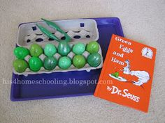 Green Eggs and Ham Actvity.  H is for Homeschooling: Dr. Seuss Tot Trays