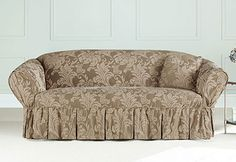 Sure Fit Slipcovers Two Toned Matelassé Damask One Piece Slipcovers - Sofa