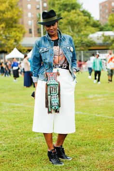 The 13 Best Looks From Afropunk Fest #refinery29  http://www.refinery29.com/2014/08/73448/afropunk-street-style#slide7  Latisha Daring, the blogger behind Global Style Gypsy, sports a sleek pair of white culottes with a vintage top and rag & bone jean jacket.