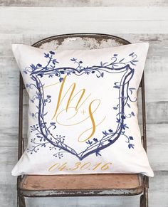 Cotton Anniversary Gift Personalized Gift Wedding Gift Custom Family Crest Initials Blue Floral Pillow Cover