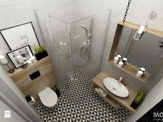 Łazienka Small Bathroom Plans, Small Bathroom Interior, Eclectic Bathroom, Bathroom Design Small, Bathroom Styling, Bathroom With Shower And Bath, Laundry Room Bathroom, Minimalist Small Bathrooms, Toilet Room Decor