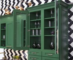 Glass door applications are perfect to see what is stored inside the cabinetry. Use these when storing china, dishes or elegant cups to provide décor in the kitchen. #KBIS2016