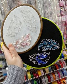 Best 12 Sewing a beaded brooch using an embroidery hoop to keep the fabric base flat. Couture Embroidery, Bead Embroidery Jewelry, Silk Ribbon Embroidery, Embroidery Applique, Embroidery Patterns, Bead Crafts, Jewelry Crafts, Tambour Beading, Brooches Handmade