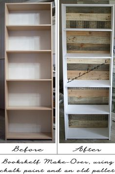 DIY: Bookshelf Make-Over using Paint and reclaimed Pallet Wood want the wood going long ways tho Refurbished Furniture, Repurposed Furniture, Pallet Furniture, Furniture Projects, Furniture Makeover, Home Furniture, Automotive Furniture, Automotive Decor, Handmade Furniture