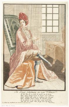 Pieter van den Berge   De jonge edelman in zijn kamer, Pieter van den Berge, 1694 - 1737   Een heer zittende in zijn kamer in zijn slaaprok. Rechts staat bij een raam een bureau. Onder de voorstelling een vers van zes regels in het Nederlands door Pieter van den Berge.