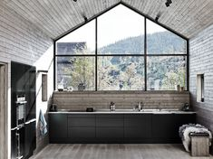 Mat black kitchen with grey wood walls and ceiling. Bungalow5 Kitchen Trends 2014 Tvis