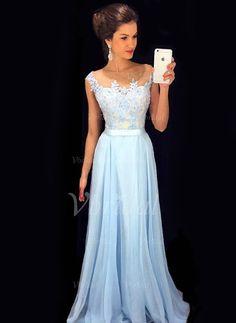 Abiballkleider - $149.99 - A-Linie/Princess-Linie U-Ausschnitt Bodenlang Chiffon Abiballkleid mit Rüschen (0185096771)