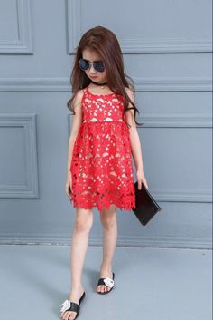 Noble Baby Cute Red Sling Dress #GirlsFashion #KidsStyle