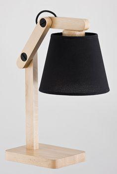 Lampka nocna lampa biurkowa oprawa lampa stołowa Alfa Joga Black 1x60W E27 czarny drewno 22718