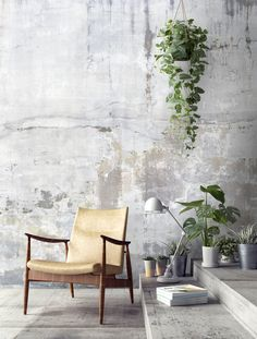Weathered Concrete Wall Wallpaper for the wall design and ideas Wallpaper for the wall design and ideas Interior Walls, Interior Design Living Room, Interior Decorating, Interior Ideas, Wall Design, House Design, Design Design, Modern Design, Concrete Interiors