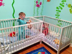 a Small Nursery for Twins A twin mom shares her tips for preparing a small room to be come a nursery for twins!A twin mom shares her tips for preparing a small room to be come a nursery for twins! Small Twin Nursery, Small Nursery Layout, Twin Nursery Gender Neutral, Small Space Nursery, Small Nurseries, Nursery Twins, Elephant Nursery, Baby Nursery Decor, Nursery Themes