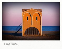 House on the beach with funny face