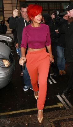 Rihanna in color block outfit, spring 2013 trend, high waisted pants, cropped top