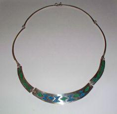 Vintage Alpaca Silver Lapis Turquoise Malachite Necklace Choker Mexico Jewelry on Etsy, $28.00