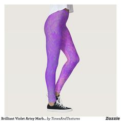 Brilliant Violet Artsy Marbled Pattern Leggings  #leggingsforwomen