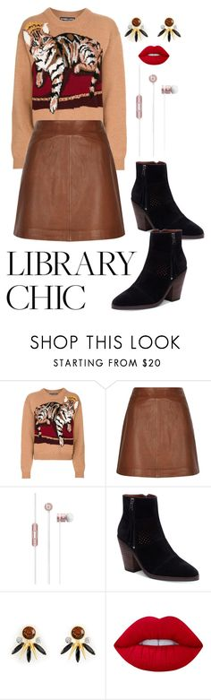 """""""Library Chic"""" by horanrat ❤ liked on Polyvore featuring Dolce&Gabbana, Reiss, Beats by Dr. Dre, Lucky Brand, Henri Bendel and Lime Crime"""