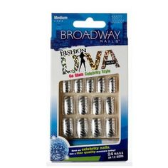 Broadway Nails Fashion Diva 55577 BGGD01 Metal Medium Length by Kiss. $1.39. Hottest designs.. Glue on nails.. 24 nails in 12 sizes.. Medium length.. Comes with pink gel glue 2 g and manicure stick.. Hard to find item!