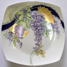 "8"" Bone China Plate Wisteria with fans hand painted by Judith Standing"