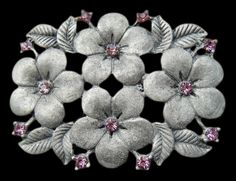 FLOWER ANTIQUE RHINESTONE PINK FLORAL BELT BUCKLE BELTS BUCKLES BOUCLE