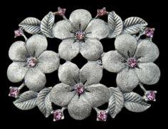 FLOWER ANTIQUE RHINESTONE PINK FLORAL BELT BUCKLE BELTS