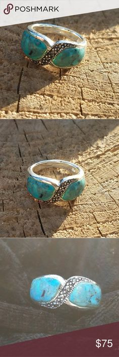 Sterling silver, Turquoise And Marcasite dome ring Size 7 Jewelry Rings