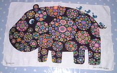 Hippo tea towel for Oxfam