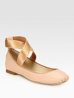 CHLOE  SEE DETAILS HERE: Crossover Leather Ballet Flats