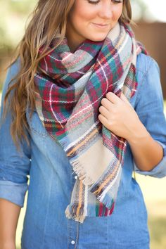 Cute & Cozy Plaid Scarf-Multi - Jane Divine Boutique