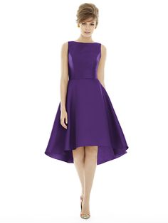 purple bridesmaid dress with no sleeves