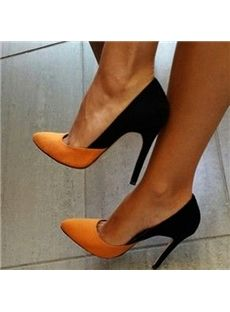 Pretty Women Contrast Color Pointed-toe Heels - Shoespie.com