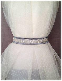 Nour Belt, from our Something New collection - Feminine Wedding Crystal Beaded Satin Sash, Bridal Belt, Rhinestone Sash by SomethingTreasured8, $130.00