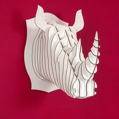 Robbie The Rhino Recycled Cardboard Sculpture White Giant. made by cardboard safari Cardboard Deer Heads, Cardboard Animals, Paper Animals, Cardboard Sculpture, Buy Toys, Animal Heads, Collectible Figurines, Taxidermy, Large White