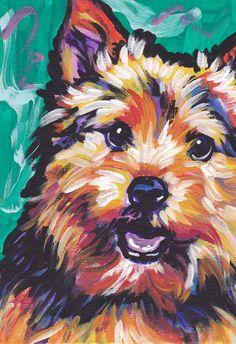 Terrier de Norwich arte perro pop impresión brillante colores