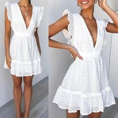 Sexy Deep V-Neck Lace Mini Dress – Canalwiki Grad Dresses, Cute Dresses, Casual Dresses, Fashion Dresses, Sexy Dresses, Mini Dresses, Fall Dresses, Casual Outfits, Men Casual
