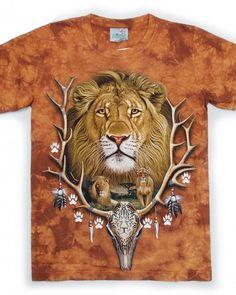 7696aab69820 3D lion t shirt mens tie dye big face animal t shirts Brown Tie