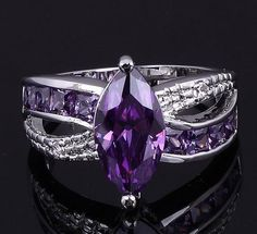 'Dazzling 10K WGF Created Amethyst Ring-Sz. 8' is going up for auctio Wed, May 1 with a starting bid of $7.  @Tophatter