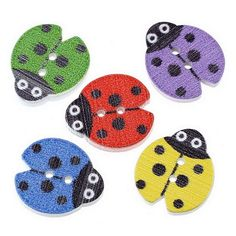 ZARABE Mixed Wood Sewing Buttons Ladybird Pattern Scrapbooking 18x16mm,100PCs -- Click on the image for additional details.