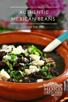 Frijoles de la Olla, which translates as beans in a pot, is probably the most common dish in Mexico. We always enjoy a bowl of them served with warm tortillas and topped with chopped onion, cilantro, serrano pepper, crumbled fresh cheese, and a drizzle of olive oil. Mexican Beans Recipe, Mexican Food Recipes, Serrano Pepper, Mexican Night, Bean Recipes, Cilantro, Easy Meals, Stuffed Peppers, Dishes