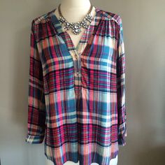 Just the most beautiful, silky plaid top we've ever seen.