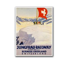Swiss Ski Poster Travel Art Switzerland Home Decor Hiking Wall Art Print (H108)    All prints are made on archival heavyweight paper and