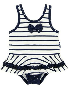 4b09ea9acf902 LeTop Navy Blue/White Striped Nautical Skirted One Piece Girls Swimsuit